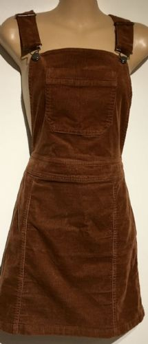 DOROTHY PERKINS BROWN CORDUROY PINAFORE DRESS SIZE 8